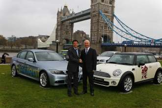 BMW announced as automotive partner of London Olympic and Paralympic Games.  From left to right,  Lord Sebastian Coe, chairman of LOCOG and Tim Abbott, managing director of BMW UK.   (UK 11/09)