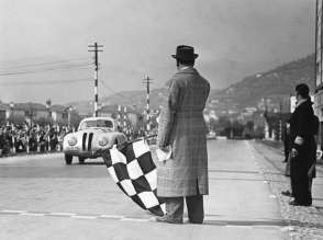 Crossing the finishing-tape at the 1st Italian Mille Miglia Grand Prix at Brescia, April 28, 1940 (03/2010)