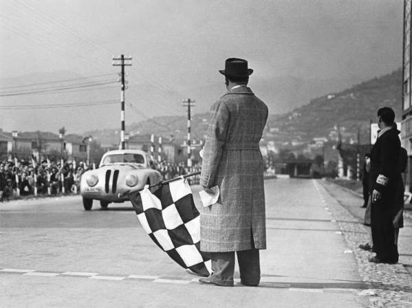 Crossing the finishing-tape at the 1st Italian Mille Miglia Grand Prix at Brescia, April 28, 1940 (03/2010)