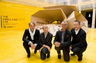 "Creators of ""The Dwelling Lab"" (from left to right): Adrian van Hooydonk, Director BMW Group Design; Patricia Urquiola, designer and architect; Giulio Ridolfo, designer and colour expert; Anders Briel, CEO Kvadrat (04/2010)."