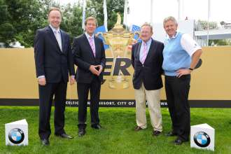 Thursday, 24. June 2010, Ian Robertson (Member of the Board BMW Group, Sales & Marketing), George O'Grady (CEO PGA European Tour), Richard Hill (Director of Ryder Cup Limited), Colin Montgomerie (2010 Ryder Cup Captain Team Europe),  BMW International Open (06/2010)