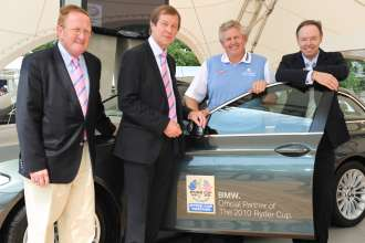Thursday, 24. June 2010, Richard Hill (Director of Ryder Cup Limited), George O'Grady (CEO PGA European Tour), Colin Montgomerie (2010 Ryder Cup Captain Team Europe), Ian Robertson (Member of the Board BMW Group, Sales & Marketing), BMW International Open (06/2010)