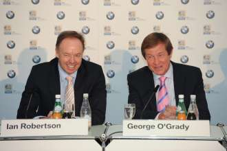 Thursday, 24. June 2010, press conference, Ian Robertson (Member of the Board BMW Group, Sales & Marketing), George O'Grady (CEO PGA European Tour), BMW International Open (06/2010)