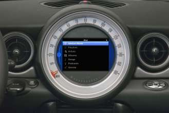 iPod Out top level iPod menu in MINI Center Speedo display (07/2010).
