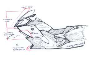 BMW K 1600 GT, design sketch (10/2010)