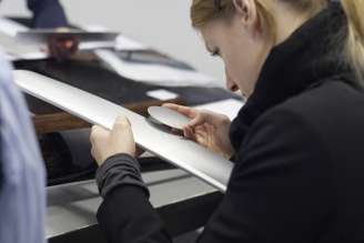 Details - Barbara Romberg (Colour and Trim Designer) choosing the materials for the BMW 6 Series Coupe (03/2011).