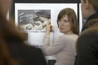 Matrial decision - Christiane Schneider (Colour and Trim Designer) discussing the materials for the BMW 6 Series Coupe (03/2011).