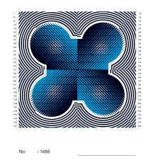 "CULTURE by Stefan Sagmeister. First page of the book. Together, the numerical arrangement of all book covers would make a square measuring 7 x 7 metres depicting a graphically abstracted image of the legendary BMW ""four cylinder"" building - the company headquarters in Munich built by Karl Schwanzer in 1972 - from a bird's eye view. Copyright: Sagmeister Inc. (02/2011)"