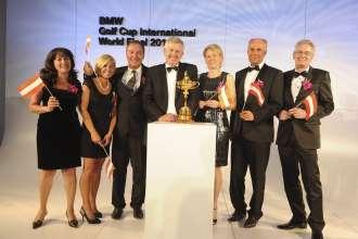 BMW Golf Cup International, Team Austria mit Colin Montgomerie v.l. Frau Marcelle Magliotti,  Frau Judith Zelesner, Herr Günther Priestner, Colin Montgomerie, Frau Mag. Elfriede Grabner, Herr Günter Wedl und Herr Dr. Walter Grabner (02/2011)