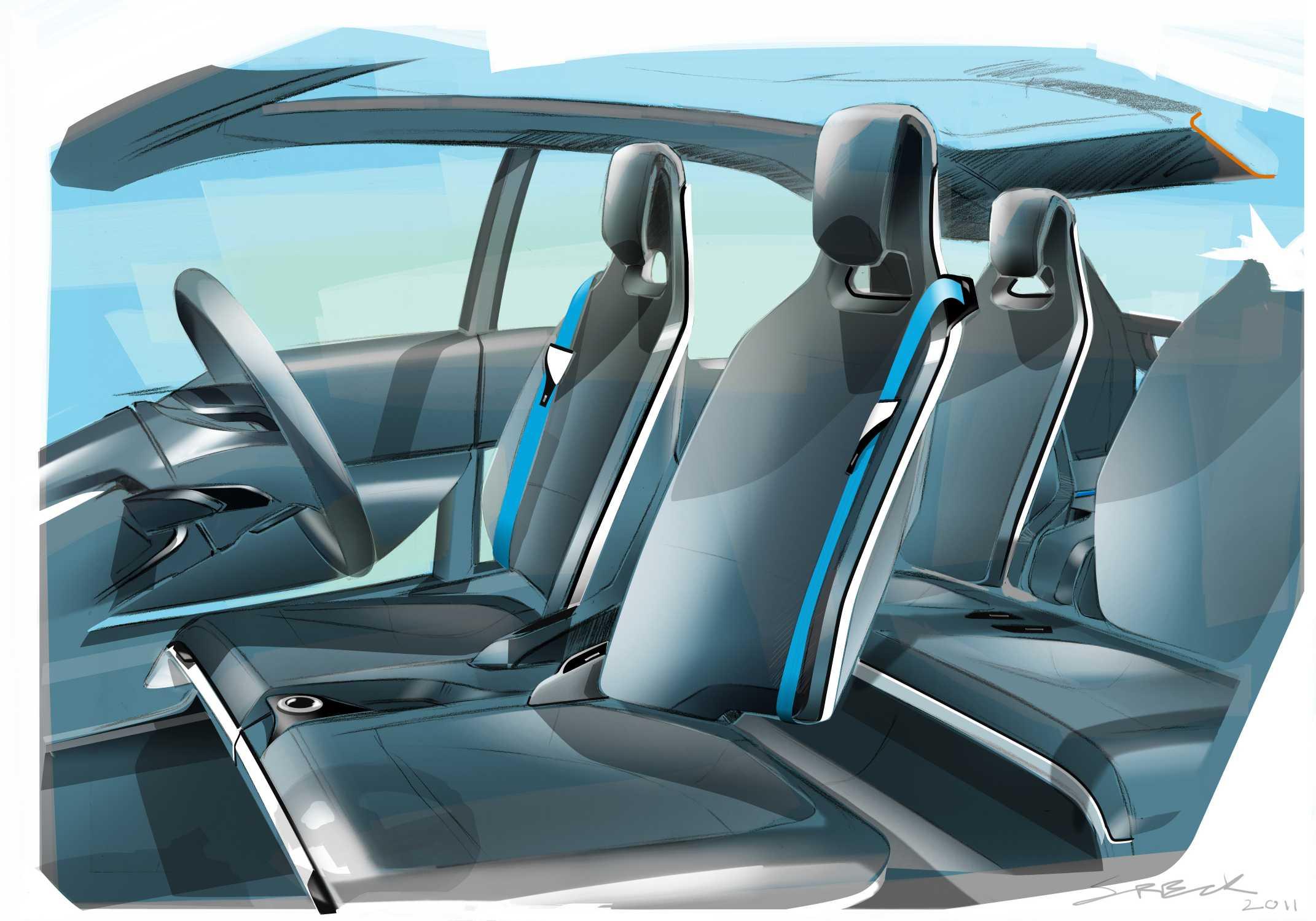 BMW i3 Concept, Interior Design sketch (07/2011)