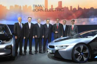 Dr. Friedrich Eichiner, Member of the Board of Management BMW AG, Finances, Ian Robertson, Member of the Board of Management BMW AG, Sales and Marketing, Frank-Peter Arndt, Member of the Board of Management BMW AG, Production, Dr. Norbert Reithofer, Head of the Board of Management BMW AG, Dr. Klaus Draeger, Member of the Board of Management BMW AG, Development, Dr. Herbert Diess, Member of the Board of Management BMW AG,  Harald Krüger, Member of the Board of Management BMW AG, Personal at the BMW i Präsentation in Frankfurt am Main, 29.07.2011 (07/2011)