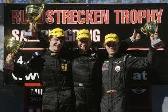 Thomas Tekaat, Hendrik Vieth, Fredrik Lestrup, Siegerehrung R2, MINI Challenge - 08 Salzburgring, Rundstreckentrophyy (10/2011)