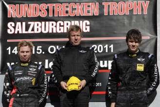 Nico Bastian, Hendrik Vieth, Thomas Tekaat, Siegerehrung Rennen 2, MINI Challenge - 08 Salzburgring, Rundstreckentrophy (10/2011)