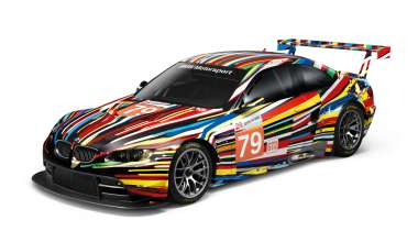 Front view of the BMW M3 GT2 Art Car Jeff Koons