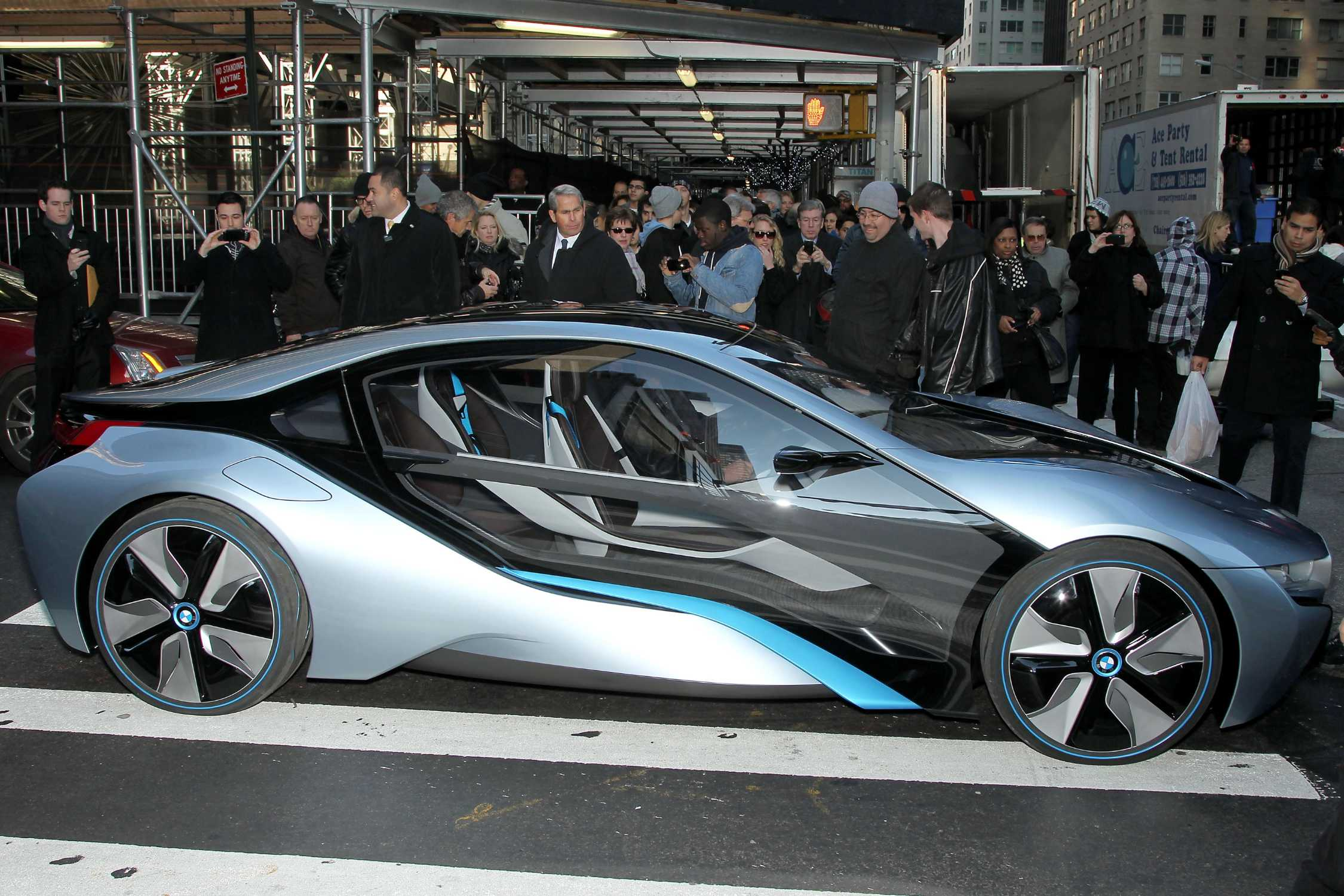 the bmw i8 concept car arrives at the mission impossible