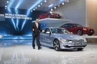 BMW Group Member of the Board of Management Dr. Klaus Draeger introduces the new BMW ActiveHybrid 3 at the North American International Auto Show in Detroit on January 9, 2012.  The BMW ActiveHybrid 3 made its world debut at the show, becoming the world's first-ever full hybrid among the compact sports sedans of the premium segment.