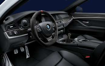 BMW 5 Series Sedan, BMW M Performance steering wheel alcantara with carbon fiber  cover and shift knob (02/2012)