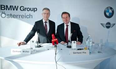 BMW Group in Österreich, Wirtschaftspressekonferenz, DI Gerhard Wölfel, GF BMW Motoren GmbH, Steyr und Dr. Gerhard Pils, GF BMW Group Austria, Salzburg (02/2012)
