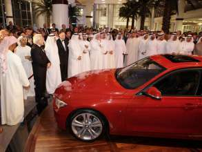 Dr. Ian Robertson, Member of the Board of Management for Sales and Marketing, BMW AG revealed the new BMW 3 Series at the Abu Dhabi Motors showroom opening (02/2012)