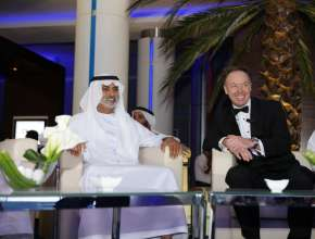 Dr. Ian Robertson, Member of the Board of Management for Sales and Marketing, BMW AG and Nahyan Bin Mubarak Al Nahyan, Minister of Higher Education and Scientific Research at the Abu Dhabi Motors showroom opening (02/2012)