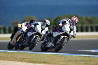 Phillip Island (AUS), 26 February 2012. Team BMW Motorrad Motorsport Rider Leon Haslam (GBR) and  Marco Melandri (ITA) riding the BMW S 1000 RR. This image is copyright free for editorial use © BMW AG