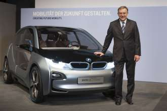 Dr. Norbert Reithofer, Chairman of the Board of Management of BMW AG, next to the BMW i3 Concept. BMW Group Annual Accounts Press Conference in Munich on 13 March 2012 (03/2012)