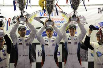 Podium Celebrations. 14.03.2012 - 17.03.2012, Sebring (USA), Joey Hand (USA), Dirk Müller (DEU), Jonathan Summerton (USA), No 56, BMW Team RLL, BMW E92 M3, American Le Mans Series, Twelve Hours of Sebring. This image is Copyright free for editorial use © BMW AG