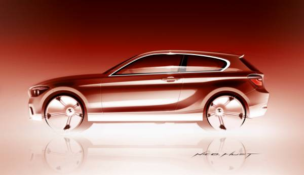 Exterior sketch of the all new BMW 1 Series 3 Door Hatch by Nicolas Huet, Exterior Designer BMW 1 Series (05/2012)