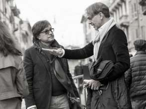 Dr Andrea Zagato, President of Zagato, and Adrian van Hooydonk, Senior Vice President BMW Group Design, at a meeting in Milan (05/2012)