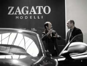 Norihiko Harada, Chief Designer Zagato, and Jürgen Greil, Design Technic at BMW Design, at Zagato in Milan (05/2012)