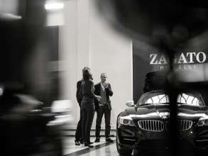 Marella Rivolta-Zagato, Art Director Zagato, Erik Goplen, Exterior Designer BMW Group DesignworksUSA, and Karim Habib, Head of Design BMW Automobiles, at Zagato in Milan (05/2012)