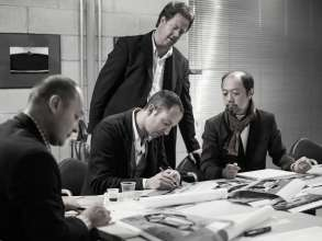 Jürgen Greil, Design Technik BMW Group Design, Karim Habib, Head of Design BMW Automobiles, Erik Goplen, Exterior Designer BMW Group DesignworksUSA, and Norihiko Harada, Chief Designer Zagato, meeting at Zagato in Milan (05/2012)