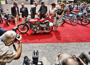 Cernobbio (CO), Villa Erba 27 May 2012. The Trofeo BMW Group, Best of Show, in the Second Concorso d'Eleganza Villa d'Este for motorcycles was awarded to the Italian Gilera 550 Rondine (05/2012).