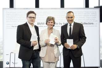 World premiere of the BMW Art Guide by Independent Collectors on the occasion of Art 43 Basel at Bar Rouge, Messeturm: Christian Schwarm (Founder Independent Collectors), Annette Kulenkampff (Publisher Hatje Cantz Verlag) and Andreas-Christoph Hofmann (Vice President Brand Communications BMW). Photo: Manuel Wagner. (c) BMW AG, Independent Collectors.