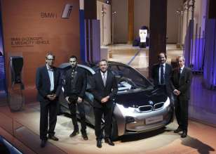 Rome, 20 June 2012. Palazzo della Esposizioni. Presentation of the BMW i Born Electric Tour. From left to right, Benoit Jacob (BMW i), Fabio Novembre (architect and designer), Franz Jung (President and Managing Director of BMW Group Italia), Marco Visconti (Rome City Councillor for the Environment), Mario Valducci (President of the 9th Transportation, Post Office and Telecommunications Commission of the Chamber of Deputies) (06/2012).