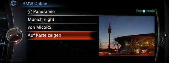 BMW ConnectedDrive, New generation Navigation system Professional BMW Online panoramio(07/2012)