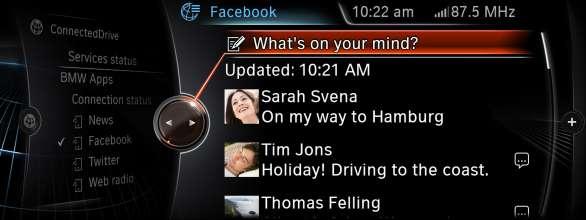 BMW ConnectedDrive, New generation Navigation system Professional Apps facebook (07/2012)