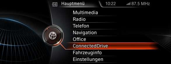 BMW ConnectedDrive, New generation Navigation system Professional Main menu (07/2012)
