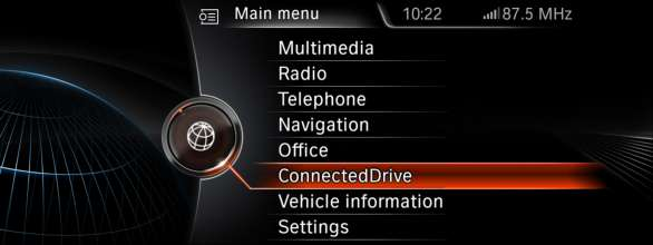 BMW ConnectedDrive, New generation Navigation system Professional Main menu (07/2012)