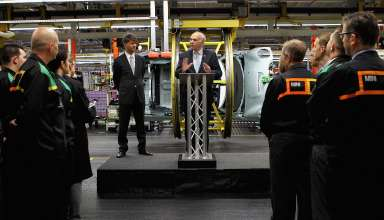 Harald Krueger, Member of the Board of Management BMW Group and responsible for the brand MINI, during the speech of British Business Secretary Vince Cable at the MINI plant in Oxford with staff, 09 July 2012. (07/2012)