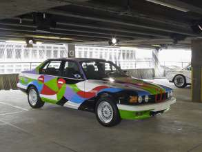 """ART DRIVE! The BMW Art Car Collection 1975-2010"" in London, July 21 - August 4, 2012. From left: César Manrique, BMW Art Car, 1990 - BMW 730i, Frank Stella, BMW Art Car, 1976 - BMW 3.0 CSL."