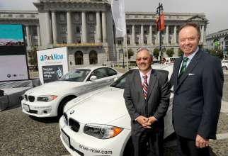 San Francisco Mayor Ed Lee and BMW Group board member Dr. Ian Robertson at a news conference announcing the launch of ParkNow and DriveNow on Monday, August 20, 2012 at Civic Center Plaza in San Francisco, CA.  (08/2012
