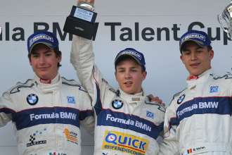 Sunday Race 3 - PODIUM, Alfonso Celis, winner Marvin Dienst, Ioan Mihnea Stefan - 13. - 16. September 2012, Oschersleben, Germany, Formula BMW Talent Cup 2012, On-Track Event 7 - This image is copyright free for editorial use. © Copyright: BMW AG