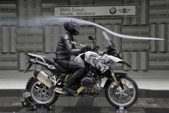 BMW R 1200 GS, acoustics and airflow testing in BMW Group wind channel (10/2012)