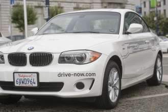BMW ActiveE electric vehicle that is offered in DriveNow, BMW's car sharing program in San Francisco. (11/2012)
