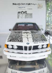 BMW Art Car by Robert Rauschenberg (1986 BMW 635 CSi) on display on Wednesday, December 5th, 2012 in the Miami Beach Botanical Gardens as part of Art Basel Miami Beach 2012. (John Christie /newscast) (12/2012)