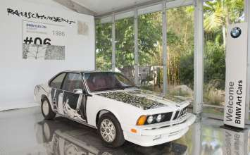 BMW Art Car by Robert Rauschenberg (1986 BMW 635 CSi) on display in the Miami Beach Botanical Gardens on Wednesday December 5th, 2012 as part of Art Basel Miami Beach 2012. (John Christie /newscast) (12/2012)