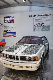 BMW Art Cars on display by Robert Rauschenberg (1986 BMW 635 CSi) in the Miami Beach Botanical Gardens as part of Art Basel Miami Beach 2012 on Wednesday, December 5th. (Vanessa Rogers/newscast)