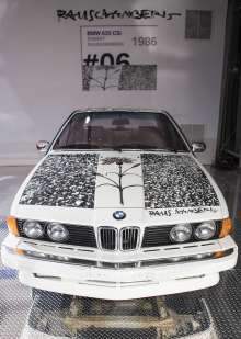 BMW Art Car on display by Robert Rauschenberg (1986 BMW 635 CSi) in the Miami Beach Botanical Gardens as part of Art Basel Miami Beach 2012 on Wednesday, December 5th. (Vanessa Rogers/newscast)