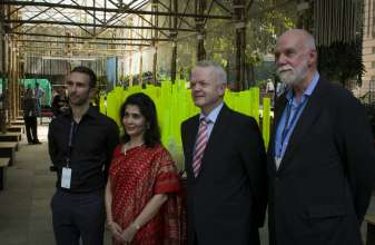 Media Preview for the BMW Guggenheim Lab Mumbai on December 6, 2012 at the central Lab site, the Dr. Bhau Daji Lad Museum plaza. F.l.t.r.: David van der Leer, Curator BMW Guggenheim Lab Mumbai, Tasneem Mehta, Managing Trustee and Honorary Director, Dr. Bhau Daji Lad Museum, Philipp von Sahr, President, BMW Group India and Richard Armstrong, Director of the Solomon R. Guggenheim Museum and Foundation.